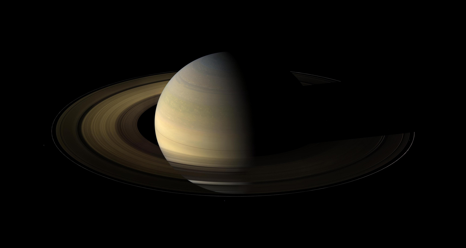 Photo de saturne au moment de son équinox par Cassini