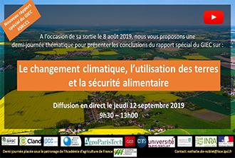 Conclusions du rapport du GIEC le 12septembre 2019 à AgroParisTech