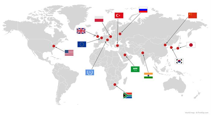 Network of the CEA's nuclear advisers in the world